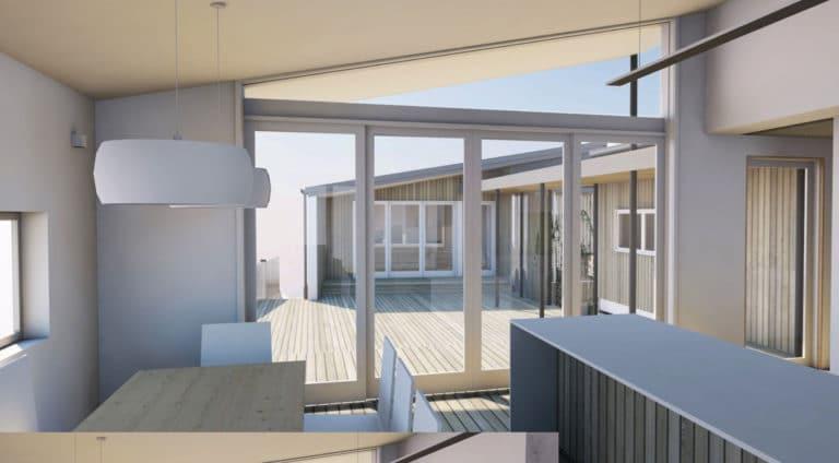 Peka Peka Coastal Home Kitchen View to Courtyard